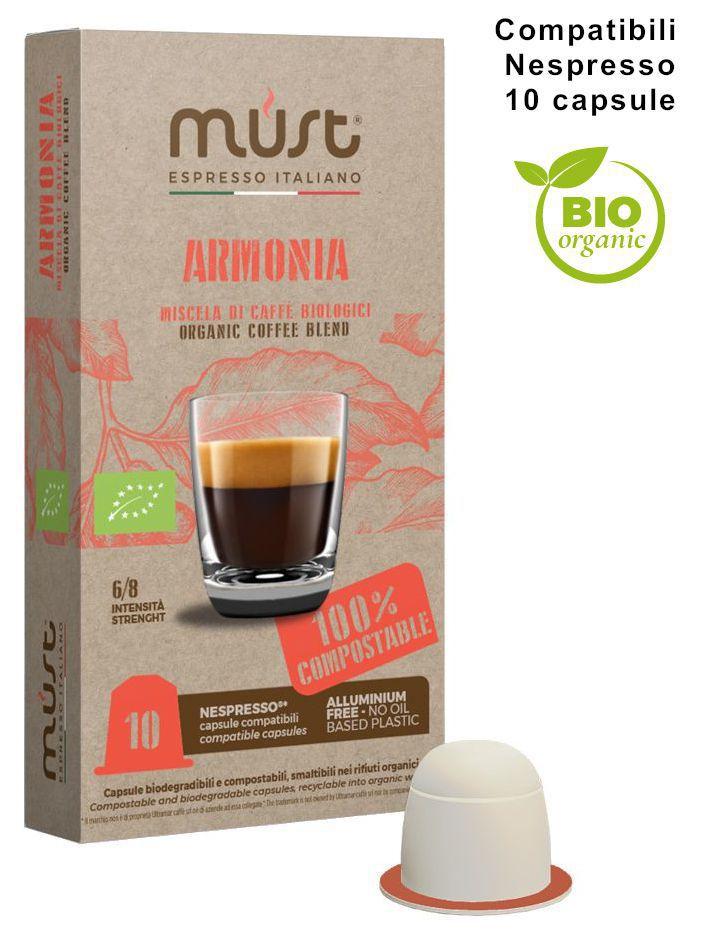 CAFFE CAPSULE NP 10pz BIOLOGICO ARMONIA COMPOSTABILE - (compatibile Nespresso)