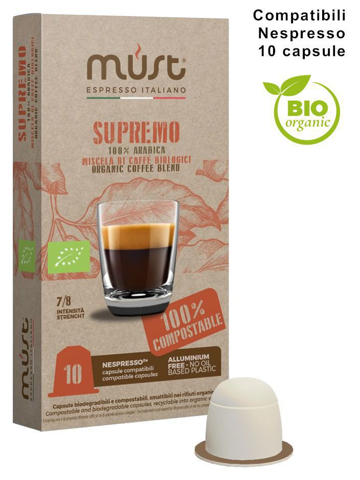 CAFFE CAPSULE NP 10pz BIOLOGICO SUPREMO COMPOSTABILE - (compatibile Nespresso)