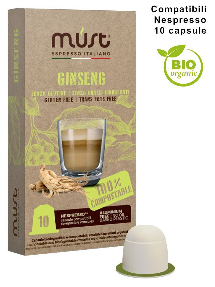 CAFFE CAPSULE NP 10pz GINSENG COMPOSTABILE - (compatibile Nespresso)