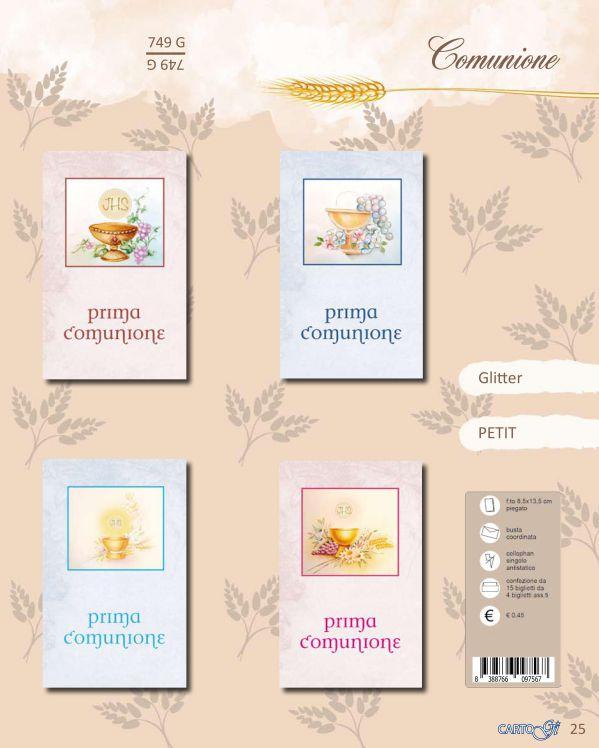 BIGLIETTI Petit COMUNIONE Glitter 1x4pz - 9x14cm