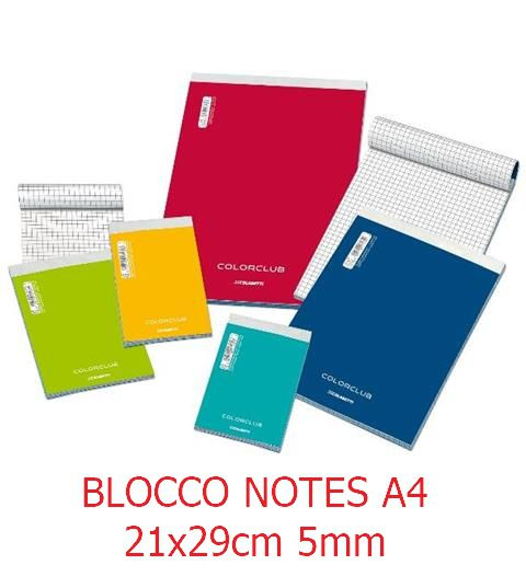 BLOCCO NOTES A4 21x29cm 5mm 10pz