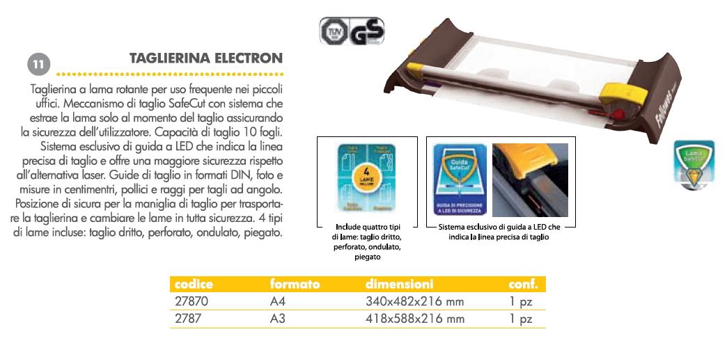 TAGLIERINA ELECTRON A4 FELLOWES LAMA ROTANTE