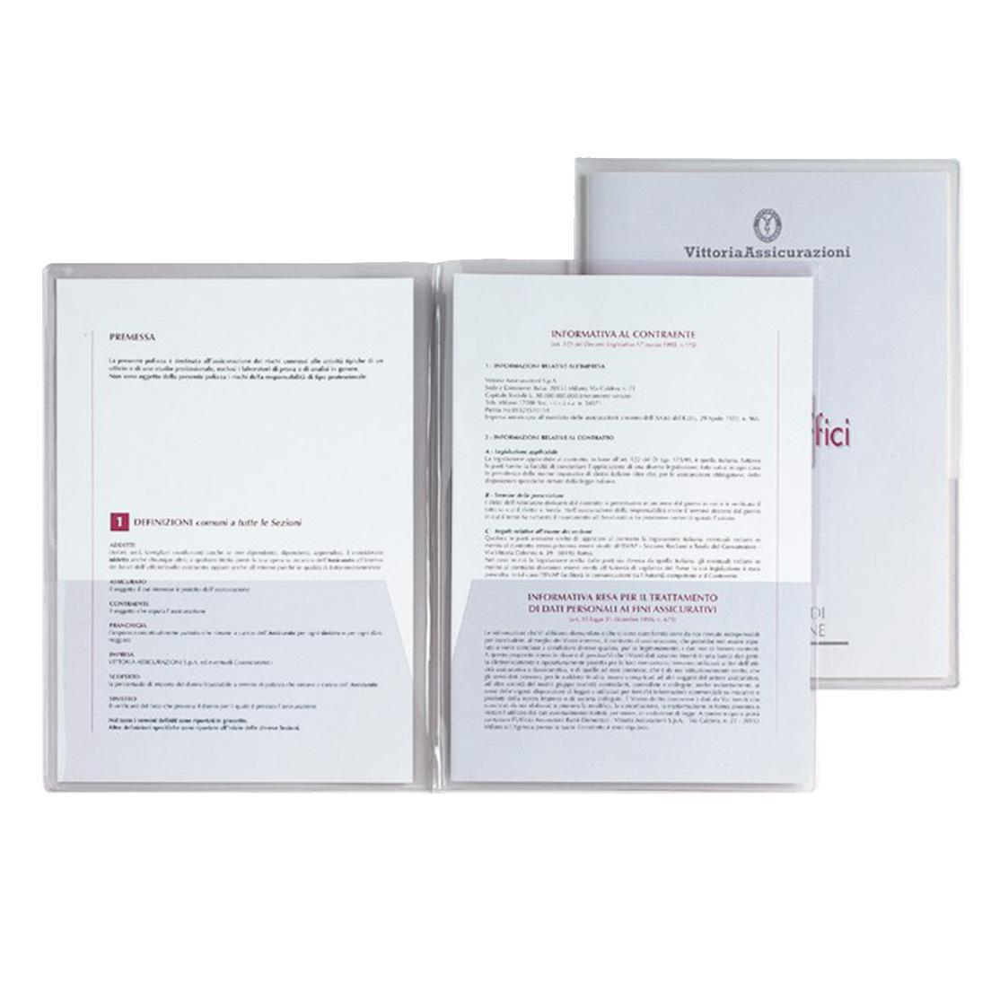 BUSTA PLASTICA CON TASCHE ORIZZONTALI INTERNE 5pz CAPRI 69/T2