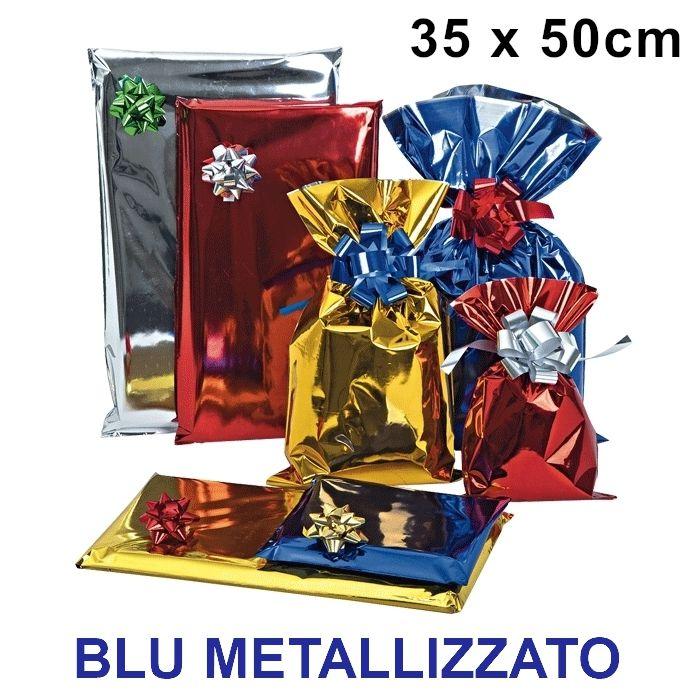BUSTA REGALO CELLO TU BLU 35x50cm 50pz BLU LUCIDO