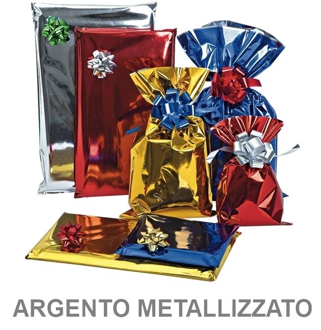 BUSTA REGALO CELLO TU ARGENTO 20X35cm 50pz TU METAL ARGENTO