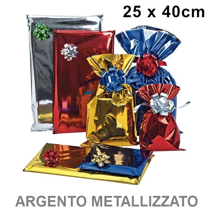 BUSTA REGALO CELLO TU ARGENTO 25x40cm 50pz ARGENTO LUCIDO