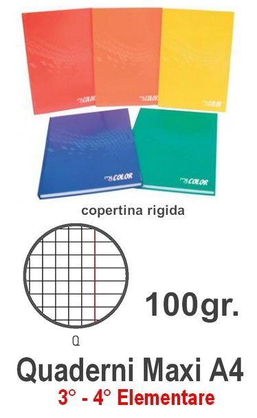 QUADERNI MAXI COPERTINA RIGIDA Q 5mm 21X29 A4 5pz - 100 FOGLI con margine