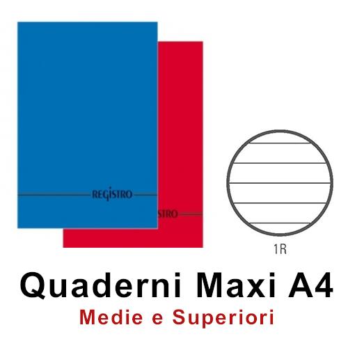 QUADERNI MAXI COPERTINA RIGIDA  LUX 1R 21X29 A4 1pz - 100 FOGLI LUSSO
