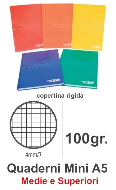 QUADERNI MINI TINTA UNITA 4mm 5pz - 15X21 COPERTINA RIGIDA