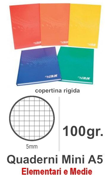 QUADERNI MINI TINTA UNITA 5mm 5pz - 15X21 COPERTINA RIGIDA