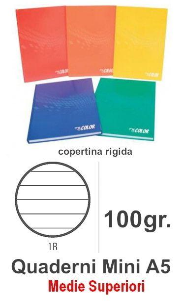 QUADERNI MINI TINTA UNITA 1R rig 5pz - 15X21 COPERTINA RIGIDA