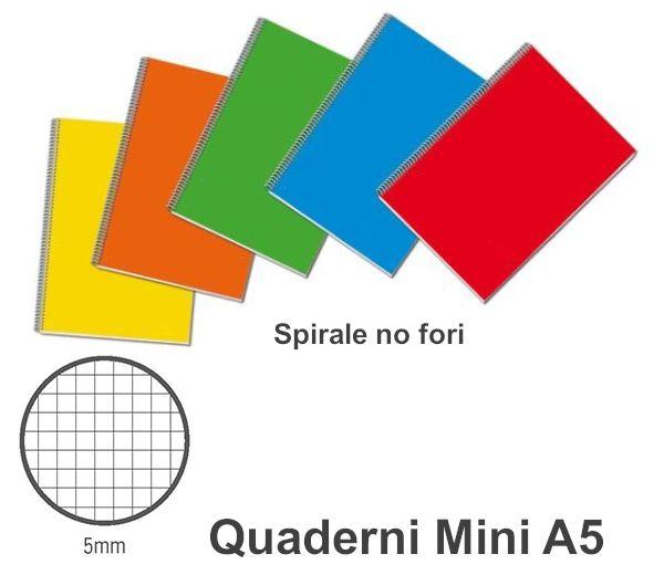 QUADERNI MINI SPIRALE 5mm 15X21 A5  5PZ T.U. NO FORI