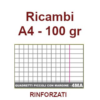 RICAMBI 21X29 A4 4mm 100gr RINFORZATI C/MARGINE 40f