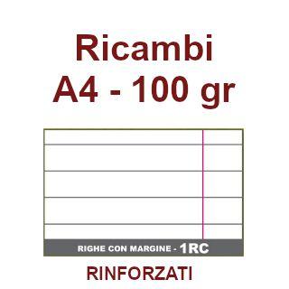 RICAMBI 21X29 A4 RC 100gr RINFORZATI CON MARGINE 40f