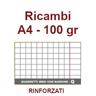 RICAMBI 21X29 A4 RQ 100gr RINFORZATI CON MARGINE 40f