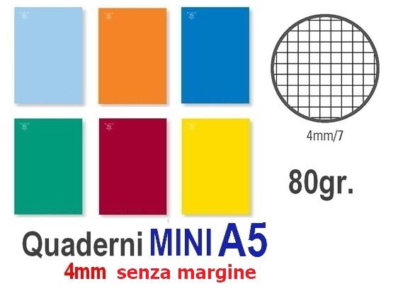 QUADERNI MINI TINTA UNITA 4mm 80gr - 12pz 15X21 A5 SENZA MARGINE