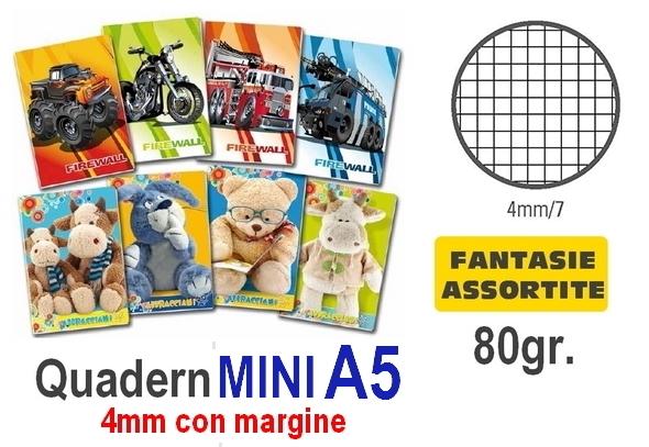 QUADERNI MINI FANTASIA 4mm 80gr - 10pz 15X21 A5 - SENZA MARGINE
