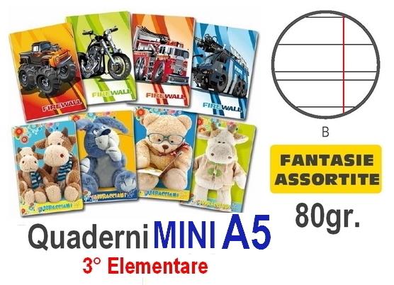 QUADERNI MINI FANTASIA B rig 80gr - 10pz - 15X21 A5