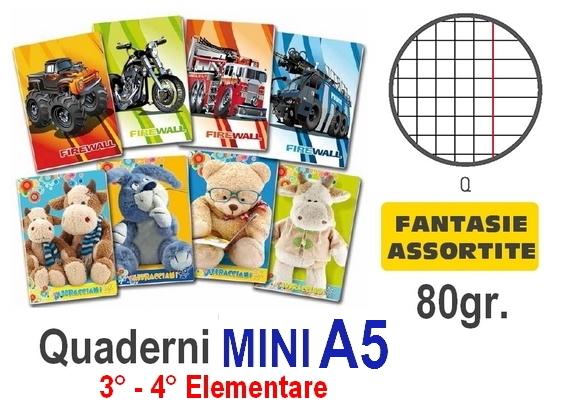 QUADERNI MINI FANTASIA Q 5mm 80gr - 10pz - 15X21 A5