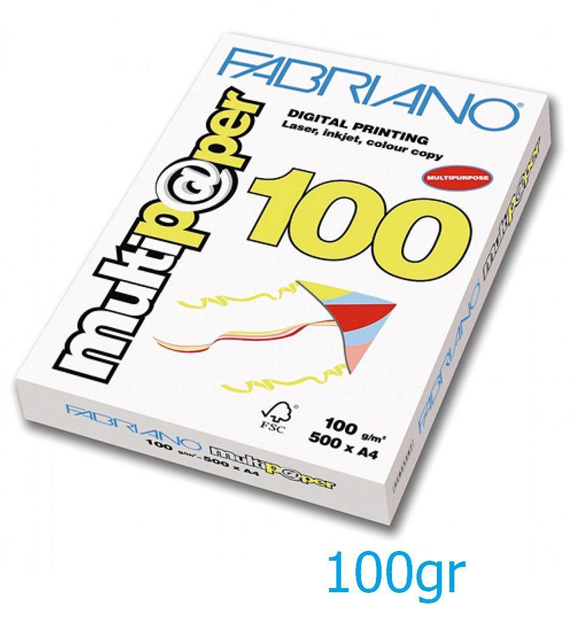 CARTA A4 21x29 100g 500fg MULTIPAPER 1pz FABRIANO
