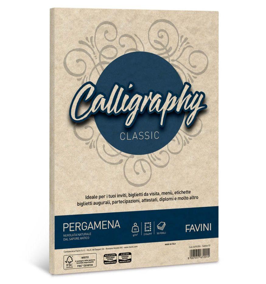 CARTA CALLIGRAPHY A4 50FG 90GR SABBIA PERGAMENA