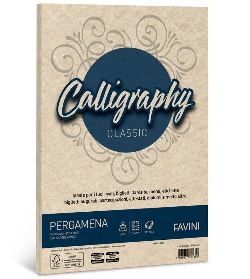 CARTA CALLIGRAPHY A4 50FG 190GR SABBIA PERGAMENA