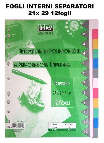 DIVISORI PLASTIFICATI A4 12 TASTI COLORATI 1pz