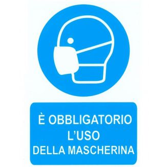 TARGA ADESIVE 20x30cm OBBLIGO MASCHERINA