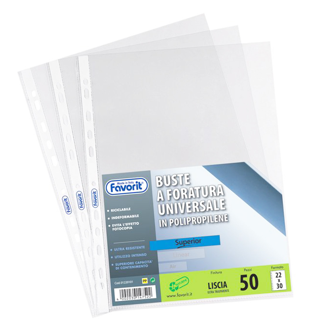 BUSTA PLASTICA FORATA A4 15/100 LISCIA 50pz 22x30cm