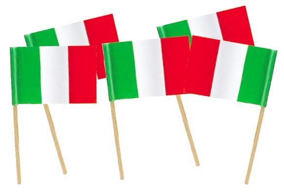 BANDIERINA ITALIA CON ASTA 50 cm 24pz 20X30 cm