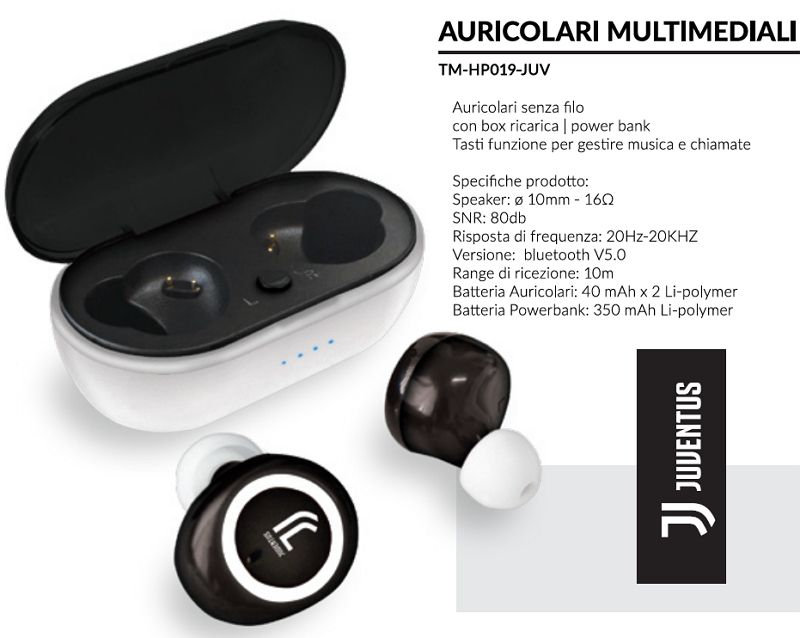 AURICOLARI CUFFIE WIRELESS 1pz JUVENTUS - TECHMADE
