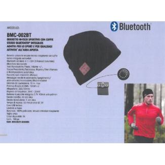BERRETTO SPORTIVO CON CUFFIE Bluetooth 1pz