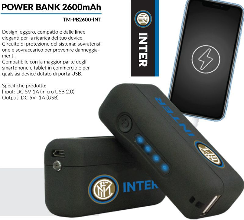 BATTERIE ESTERNA POWERBANK INTER 1pz 2600mAh - cellulari