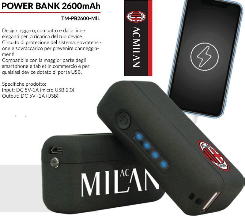 BATTERIE ESTERNA POWERBANK MILAN 1pz 2600mAh - cellulari