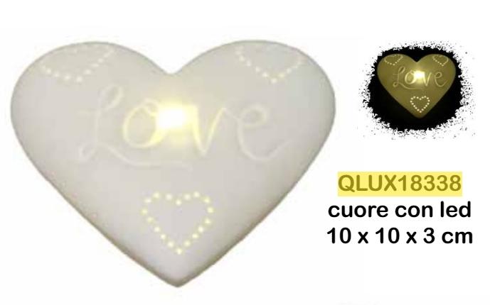 CUORE CON LED 10X3X10CM   LOVE PORCELLANA BIANCA