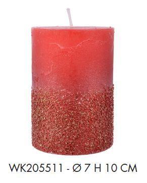 CANDELA D7H10cm ROSSA GLITTER