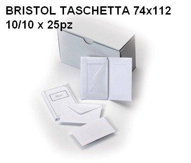 BIGLIETTI BRISTOL DA VISITA OPALINA 74x112mm 10 BUSTA + 10 FOGLI 25pz