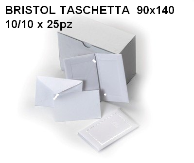 BIGLIETTI BRISTOL DA VISITA 90x140mm BLISTER 10 BUSTA + 10 FOGLI 25pz