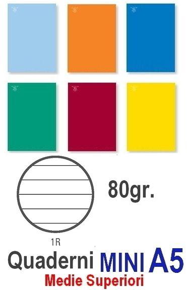 QUADERNI MINI TINTA UNITA 1R rig 80gr - 10pz 15X21 A5