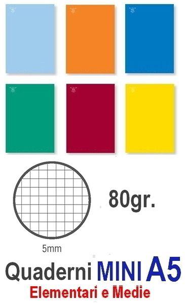 QUADERNI MINI TINTA UNITA 5mm 80gr - 10pz 15X21 A5