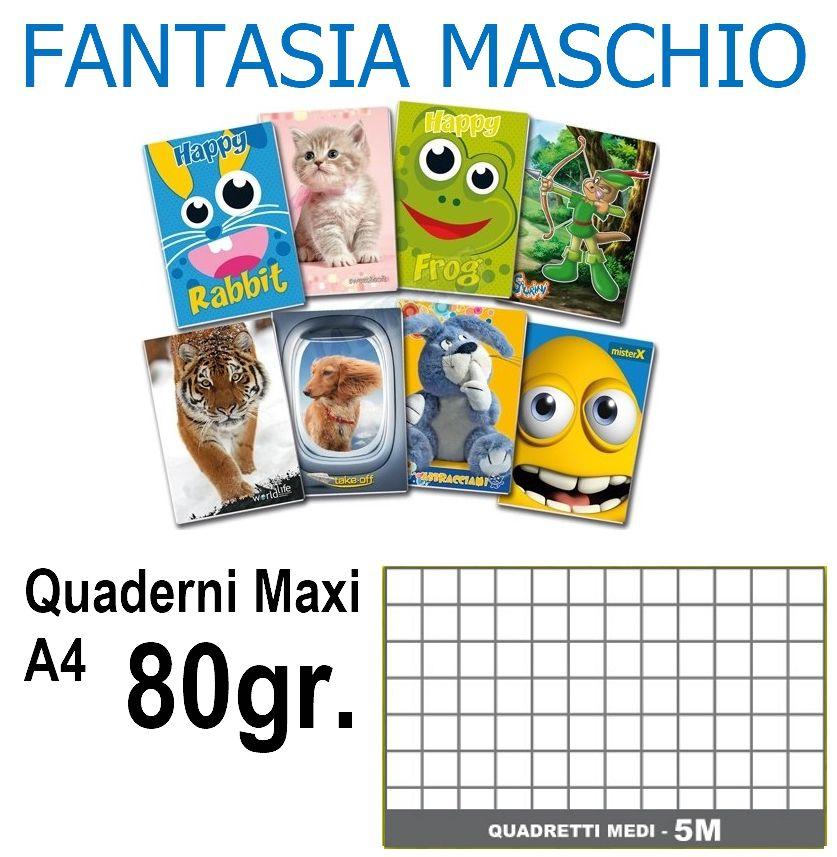 QUADERNI MAXI MASCHIO 5mm 80gr - 5pz 21x29cm A4 - elementari/medie