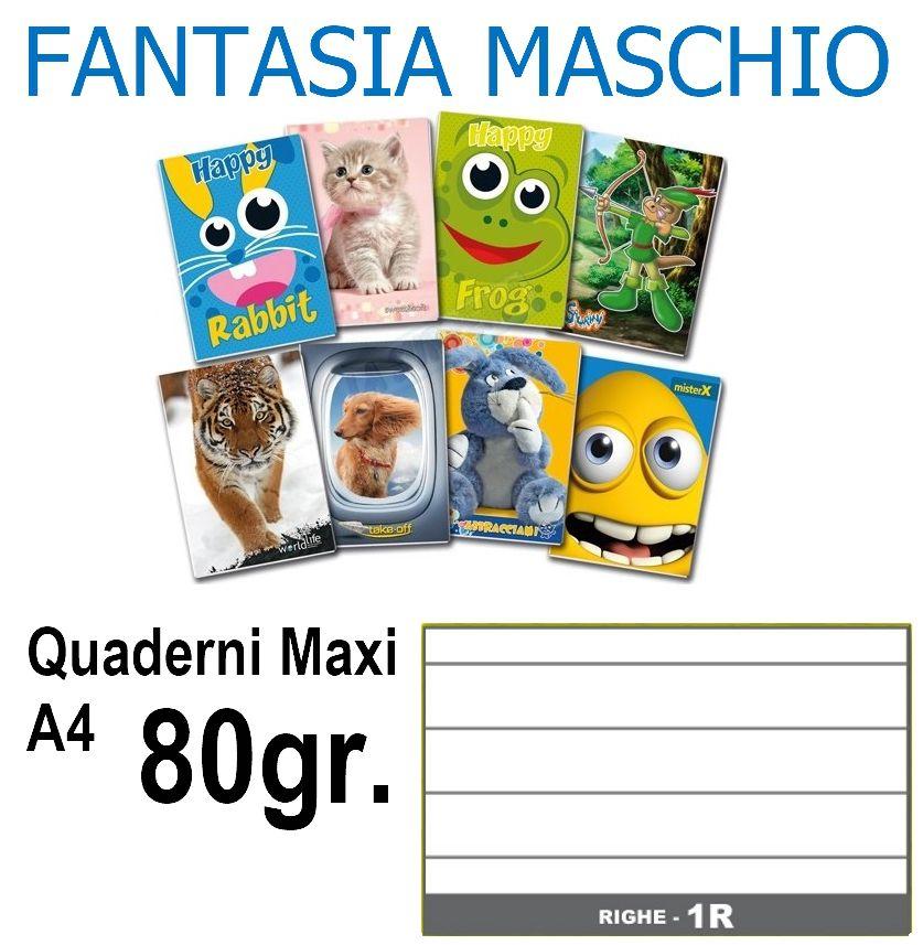 QUADERNI MAXI MASCHIO 1R rig 80gr - 5pz 21X29 A4 - medie superiori