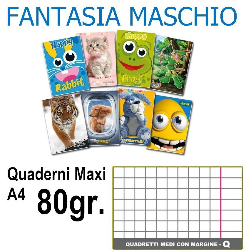QUADERNI MAXI MASCHIO Q 5mm 80gr - 5pz 21x29cm A4 CON MARGINE - 3/4 elementare