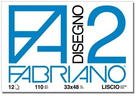 ALBUM DISEGNO FABRIANO FA2 12 FOGLI 110g 33x48cm LISCIO 10pz