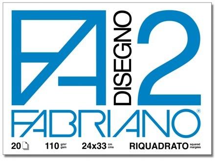 ALBUM DISEGNO FABRIANO FA2 20 FOGLI 125g 24x33cm LISCIO RIQUADRATO 10pz