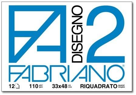 ALBUM DISEGNO FABRIANO FA2 12 FOGLI 125g 33x48cm RIQUADRATO 10pz