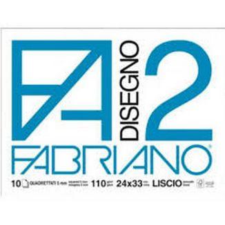 ALBUM DISEGNO FABRIANO FA2 10 FOGLI 24x34cm LISCIO 10pz 5mm QUADRETTATO - FOGLI A STRAPPO