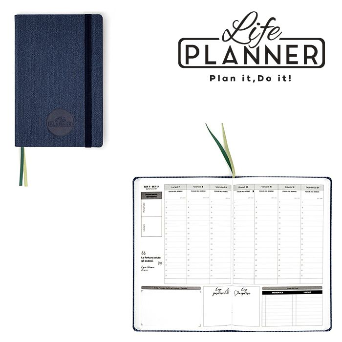 AGENDA A 12mesi Small 1pz Ribbed Blue LIFE PLANNER