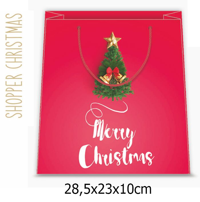 BORSA SHOPPER DECOR 18,5x23x10cm 12pz NATALE CHRISTMAS