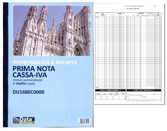 MODULI BLOCCHI PRIMANOTA CASSA IVA 50fogli x2copie cm29.7x21.5 DATA UFFICIO 1pz